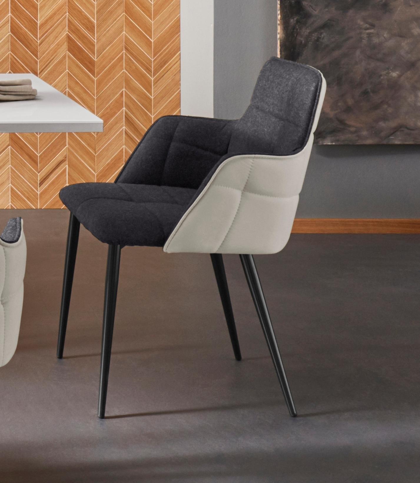 Places of Style eetkamerstoel Iris set van 2, met mooie weefstof, zwart metalen frame, zithoogte 45 cm nu online kopen bij OTTO