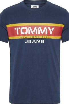 tommy jeans t-shirt »tjm panel logo« blauw