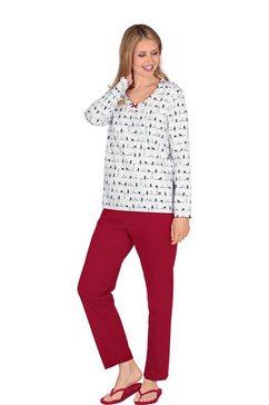 trigema pyjama met lange mouwen en wit