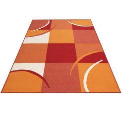 theko vloerkleed marco korte pool, met een ruitmotief, woonkamer oranje