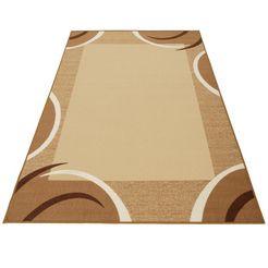 theko vloerkleed loures korte pool, met modern randdessin, woonkamer bruin