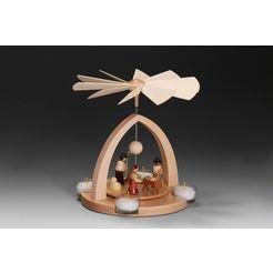 albin preissler kerstpiramide tafelpyramide - de geboorte van jezus traditioneel beige