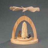 albin preissler kerstpiramide warmtemobiel - kat met muis, hond en boompjes beige