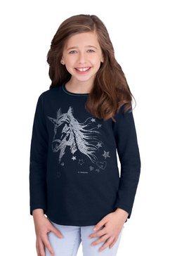 trigema sweater met eenhoorn blauw