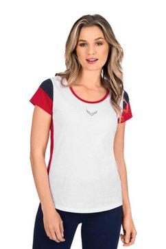 trigema t-shirt met logo gemaakt van glittersteentjes wit