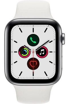 apple watch series 5 gps + cellular, edelstalen kast met sportbandje 44 mm inclusief oplaadstation (magnetische oplaadkabel) wit