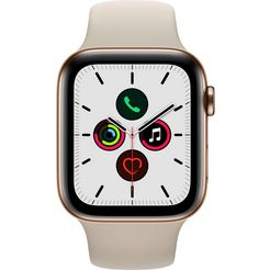 apple watch series 5 gps + cellular, edelstalen kast met sportbandje 44 mm beige