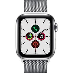 apple watch series 5 40mm gps + cellular met milanaise armband zilver