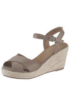 tom tailor sandaaltjes met jutebeleg aan hak en plateau beige
