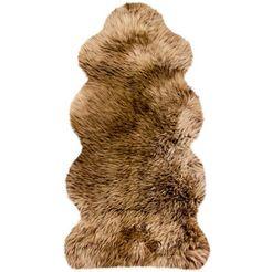 heitmann felle vachtvloerkleed lamsvacht ke 152 echte austral. lamsvacht, kleur bruin met lichtbruine uiteinden, woonkamer bruin