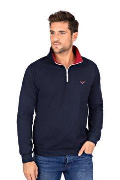 trigema sweatshirt met kraag en rits blauw