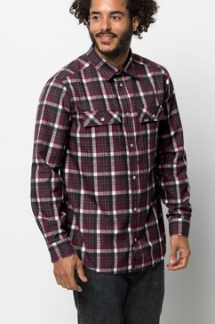 jack wolfskin geruit overhemd »bow valley shirt« paars