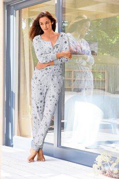 bench homewear jumpsuit met sterrenprint grijs
