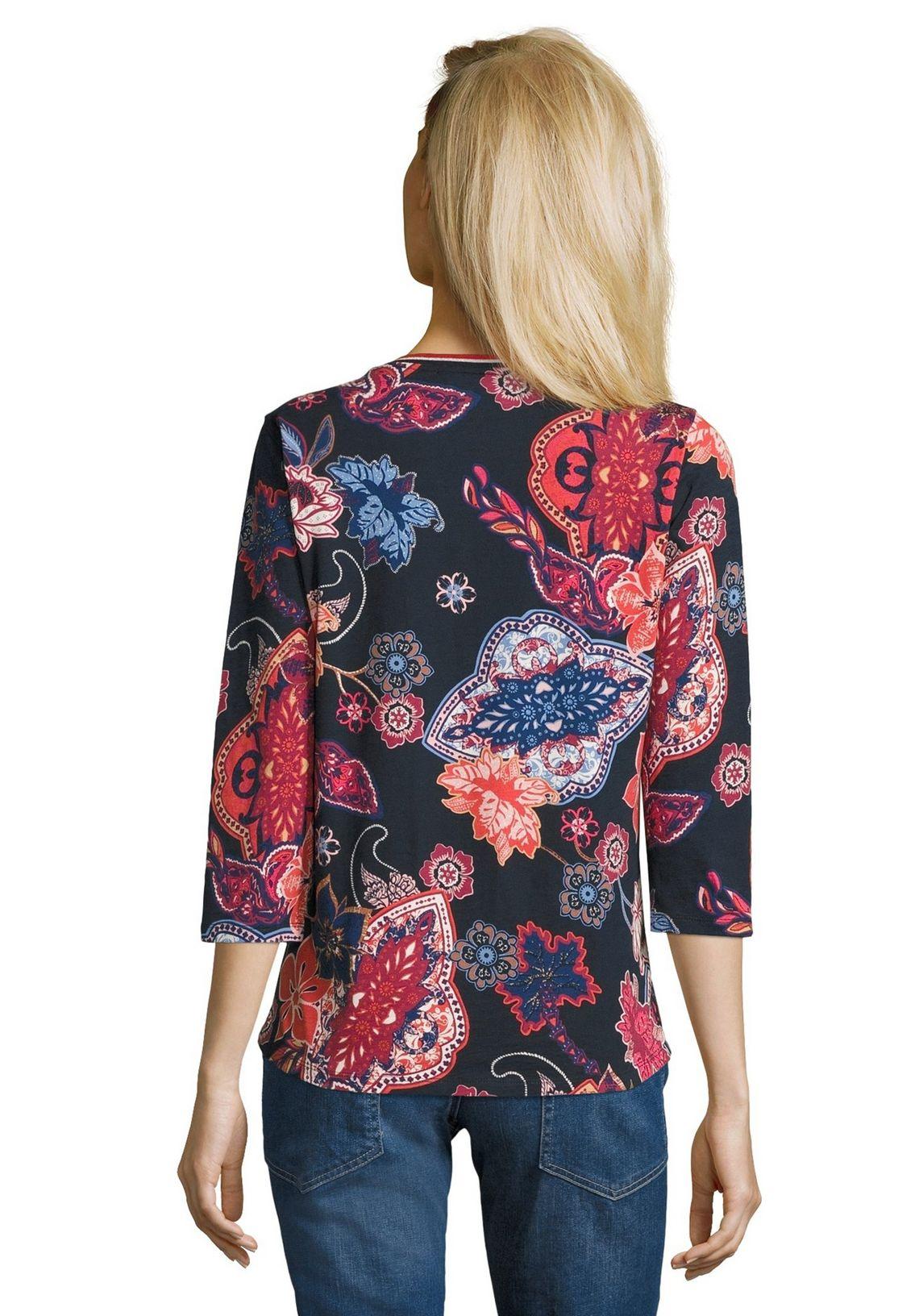 Betty Barclay Print Shirt Met Geribde Boorden In De Online Winkel Dark Blue/red - Blauw PyCSGYrT
