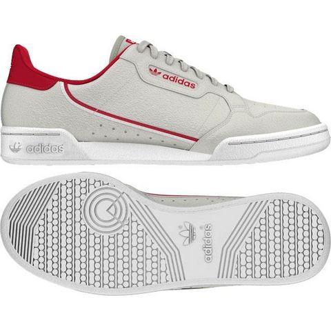adidas Originals Continental 80 leren sneakers lichtgrijs-rood