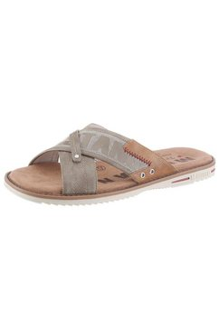mustang shoes slippers met markant logo-opschrift bruin