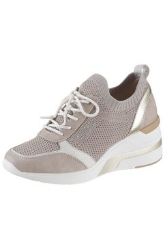 mustang shoes sneakers met sleehak beige