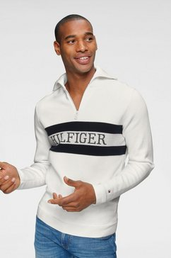 tommy hilfiger schipperstrui »chest branded zip mock« wit
