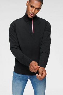 tommy hilfiger trui met staande kraag »global stripe branded zip mock« zwart