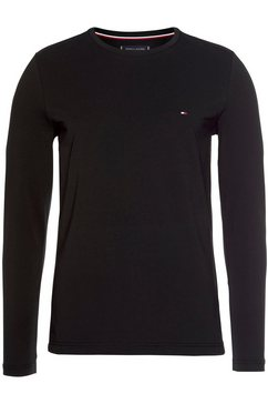 tommy hilfiger shirt met lange mouwen »stretch slim fit long sleeve« zwart