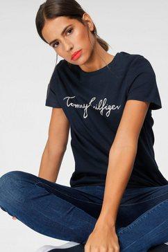tommy hilfiger t-shirt heritage crew neck graphic tee met tommy hilfiger script-logo-opschrift  merklabel bij de zoom blauw