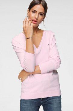 tommy hilfiger trui met v-hals heritage v-neck sweater met klassieke v-hals  tommy hilfiger-merklabel roze