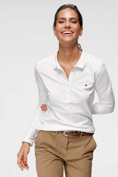 tommy hilfiger poloshirt heritage long sleeve slim polo met korte knoopsluiting  tommy hilfiger-merklabel wit