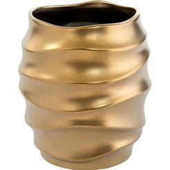 fink sierpot fabia, goudkleur sierpot voor bloemen, bloempot, vaas, met de hand gemaakt, van keramiek, verschillende diameters te bestellen, woonkamer (1 stuk) goud