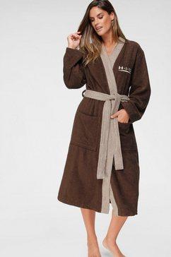 h.i.s uniseks badjas hannes met contrastkleurige riem en kraag (1 stuk) bruin