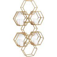 leonique wandkaarsenhouder »hexagon« goud