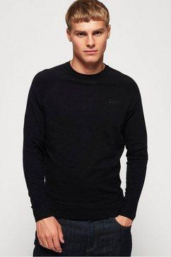 superdry trui met ronde hals met geborduurd logo zwart