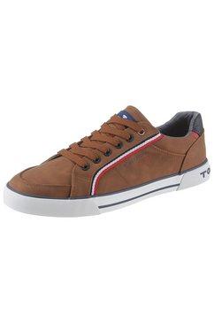 tom tailor sneakers met logo-garnering bruin