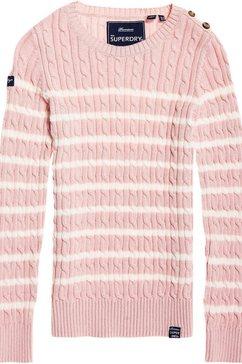 superdry gebreide trui »croyde bay cable knit« rosa