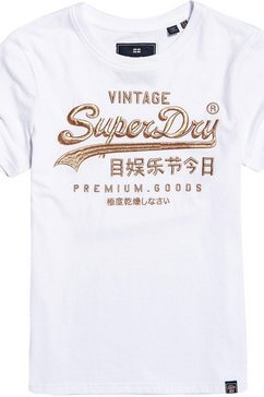 superdry t-shirt »premium goods luxe emb entry tee« wit