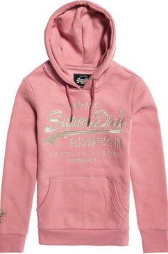 superdry hoodie »premium goods luxe emb entry hood« roze