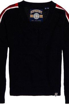 superdry trui met v-hals »sporty taped vee sweater« blauw