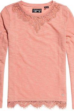 superdry shirt met lange mouwen »ellis lace ls top« roze