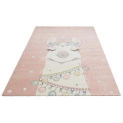 vloerkleed voor de kinderkamer, »lama«, luettenhuett, rechthoekig, hoogte 13 mm, machinaal geweven roze