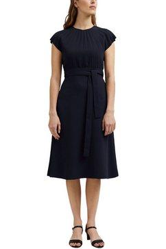 esprit collection midi-jurk met bindceintuur en plooien bij de borst blauw