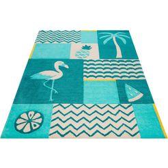 vloerkleed voor de kinderkamer, »fruity flamingo«, smart kids, rechthoekig, hoogte 9 mm, handgetuft blauw