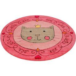 vloerkleed voor de kinderkamer, »lotti queen«, smart kids, rond, hoogte 9 mm, handgetuft rosa