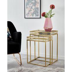 leonique bijzettafeltje yanis met plateaus van spiegelglas en goudkleurig metalen frame (2 stuks) goud