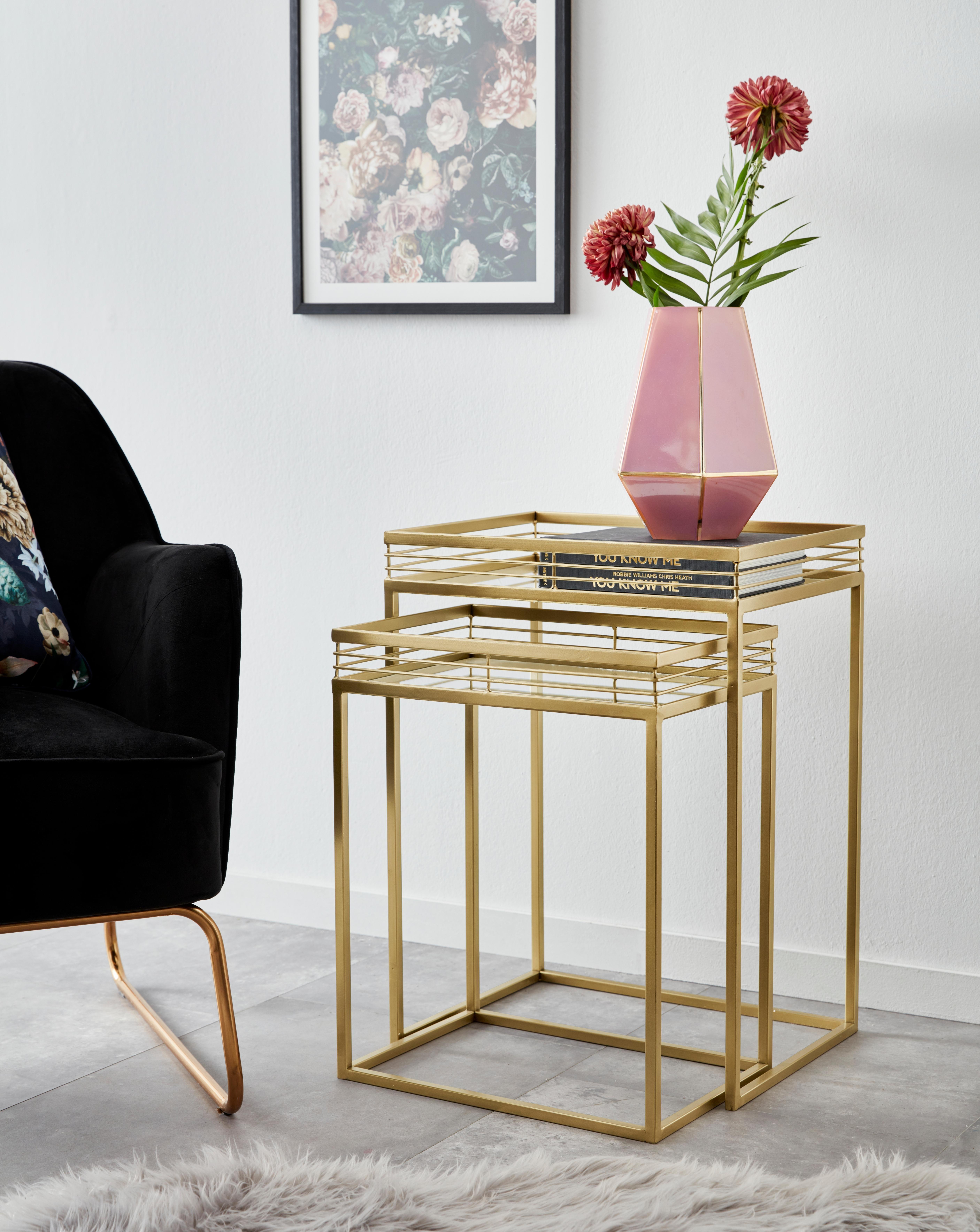 Leonique bijzettafeltje Yanis met plateaus van spiegelglas en goudkleurig metalen frame (2 stuks) - verschillende betaalmethodes