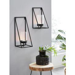 andas wandkaarsenhouder industrial candleholder kaarsen-wandkandelaar, kaarshouder, kaarsenhouder hangend, wanddecoratie, van metaal (1 stuk) zwart
