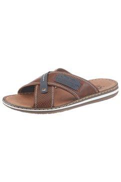 rieker slippers met stijlvolle logo-applicaties bruin