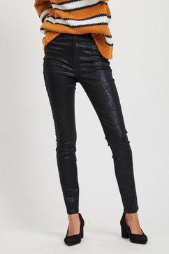 vila high waist gecoate broek zwart