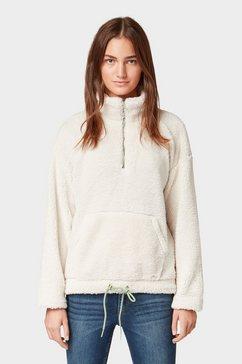 tom tailor denim sweater »sweatshirt im teddyfell-style« bruin