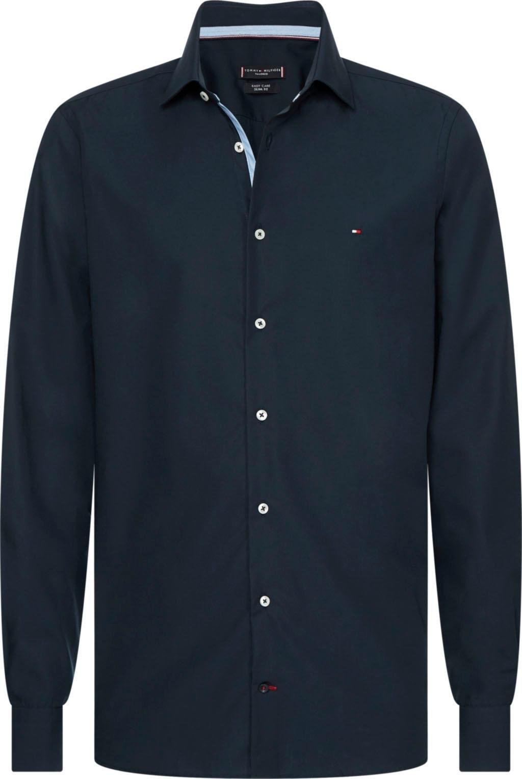 Tommy Hilfiger TAILORED businessoverhemd POPLIN CLASSIC SLIM SHIRT met verborgen contrastbeleg veilig op otto.nl kopen