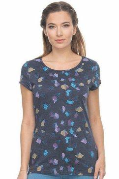 ragwear t-shirt »mint blossoms« blauw
