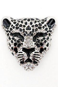 j.jayz broche leopard met strassteentjes zwart